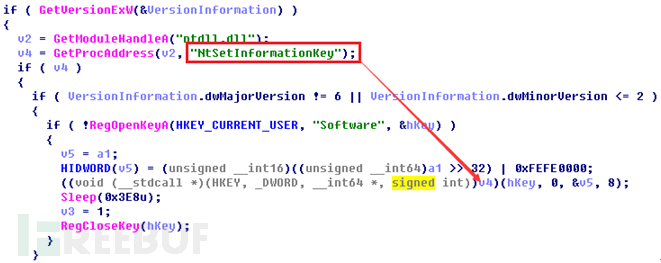 Shellcode是通过NtSetInformationKey代入内核的