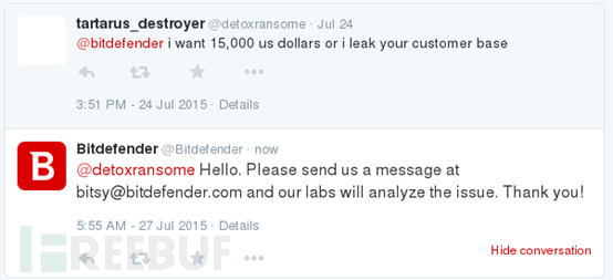 Twitter消息中DetoxRansome不掩勒索企图