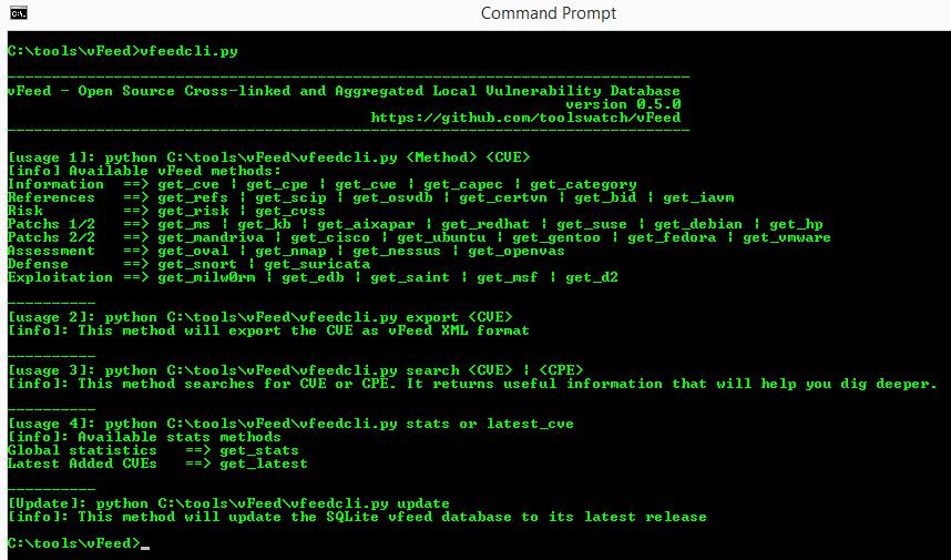 vFeed:结构化的漏洞与威胁数据库(支持CVE、CW