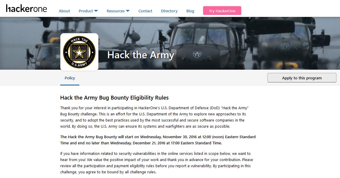 美国政府邀请黑客攻击美军网站 Hack the Army漏洞奖励计划启动