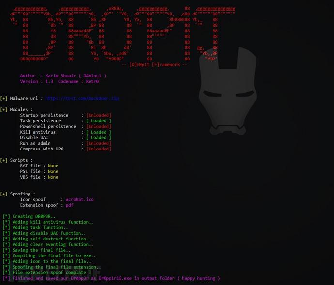 Dr0p1t-Framework:一个可以绕过多数杀软的木马生成框架