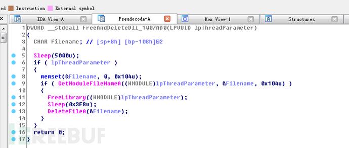 导出函数101!AddTask主要是创建线程卸载并删除DLL磁盘文件