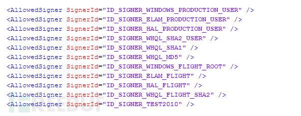 对于内核代码,允许以下签名者