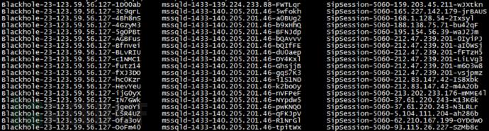 黑产IP针对不同服务、端口攻击连接记录