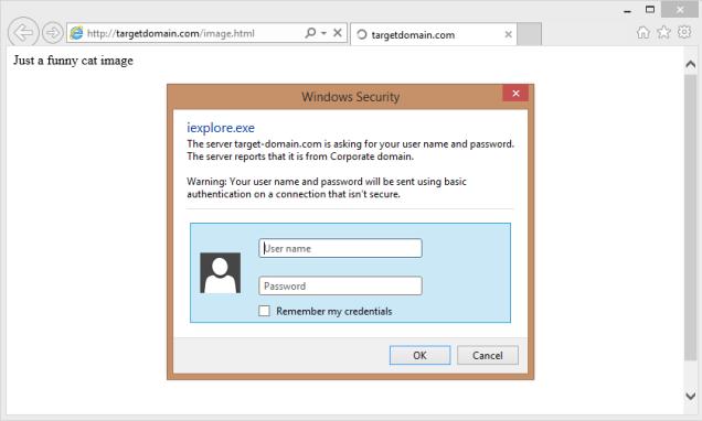 利用HTML的image标签获取基础认证提示