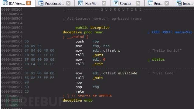 用于演示这种从反编译器中隐藏代码的技术的代码可以在下面找到