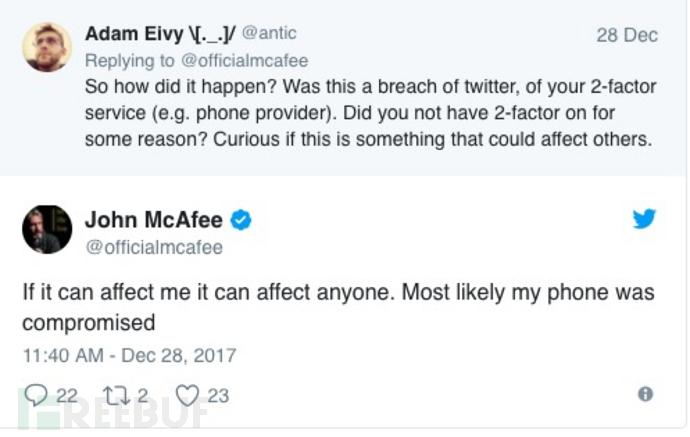 McAfee创始人John McAfee twitter帐号被黑