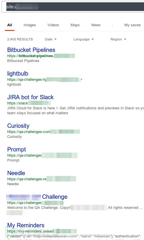 """使用 """"site"""" 关键字在bing搜索引擎中找到的子域名。"""