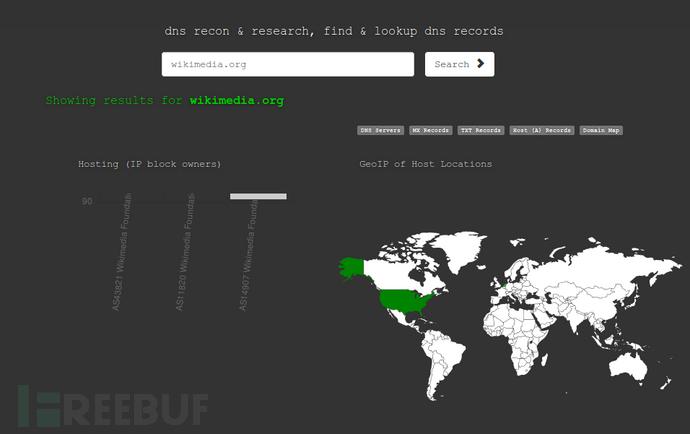 使用DNSdumpster搜索子域