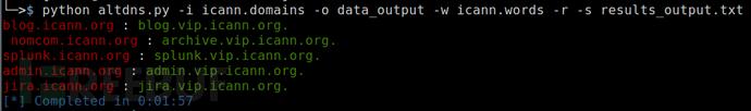 使用AltDNS查找与某些排列或替换匹配的子域