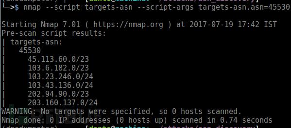使用AS编号查找网络块的NSE脚本