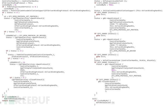 图17 Sednit的NTFS驱动程序(左)和HT的NTFS驱动程序(右)的Hex-Rays反编译器输出之间的比较