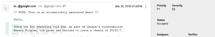 价值3133.7美金的谷歌(Google)存储型XSS漏洞