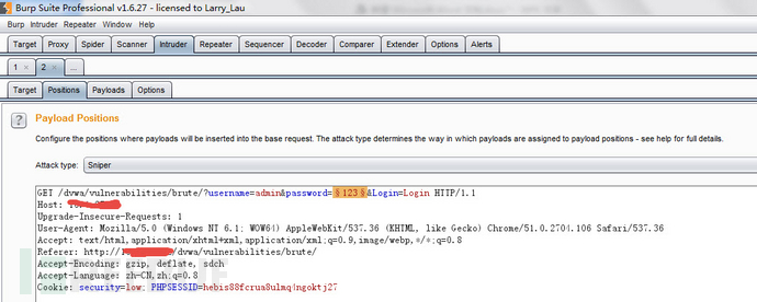 ctrl+I将包复制到intruder模块