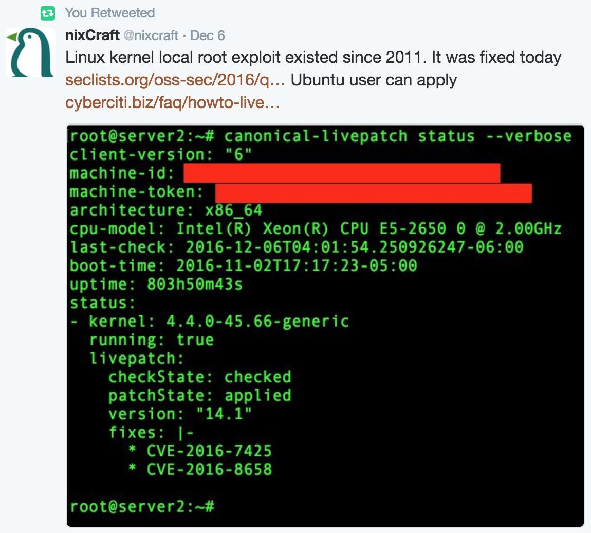 漏洞预警】CVE-2016-8655:Linux内核竞争条件漏洞,可致本地提权