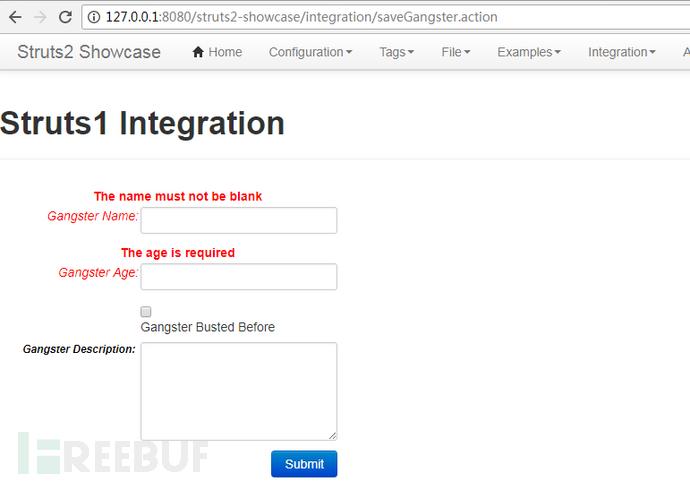 访问 /integration/saveGangster.action