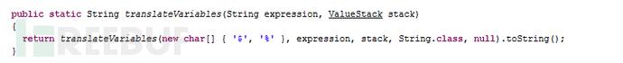 TextParseUtil.translateVariables(Stringexpression,ValueStack stack) 方法代码
