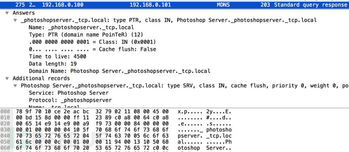 """通过49494端口扫描或组播DNS""""_photoshopserver.tcp""""抓包"""