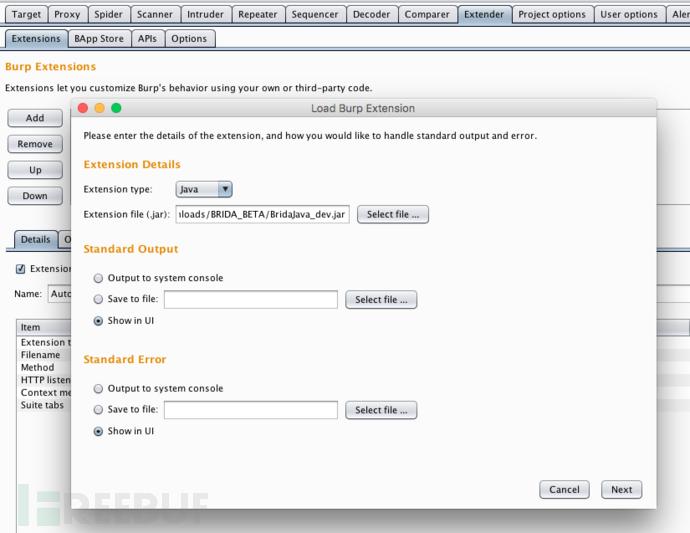 将Brida.jar扩展文件添加到Burp Suite Pro