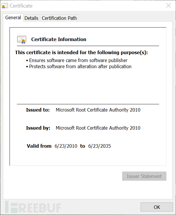 Win10S中几乎所有签名文件的root证书