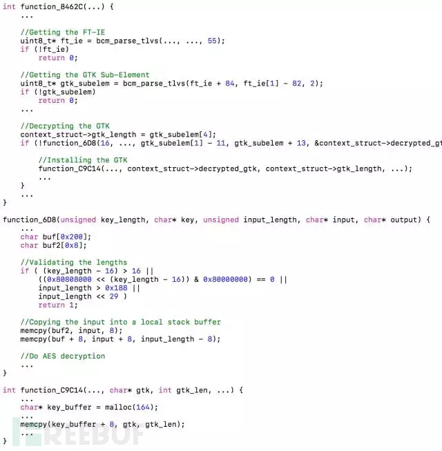 BroadCom WiFi芯片重关联操作时GTK解密和安装的相关函数