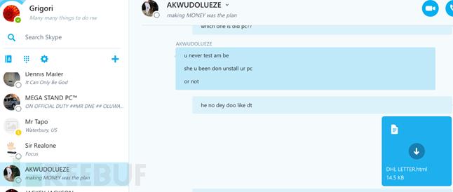 Kelechi和AKWUDOLUEZE正在交流邮件HTML格式问题