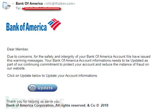 冒充美国银行发送邮件提醒用户升级账户