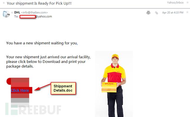 攻击者发送的伪装快递的钓鱼邮件