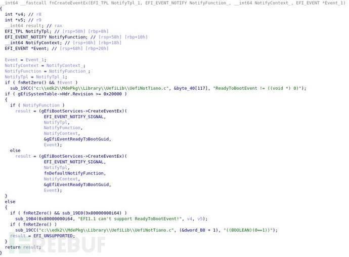 创建事件的进程的Hex-Rays反编译输出