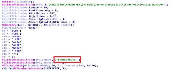 恶意autoche .exe恢复BootExecute的原始注册表值