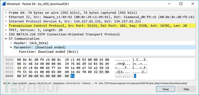 图32 结束下载_0800001P的响应
