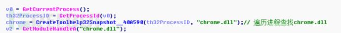 图9遍历进程,查找chrome浏览器