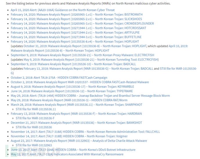 有关朝鲜的恶意网络活动的警报和恶意软件分析报告清单
