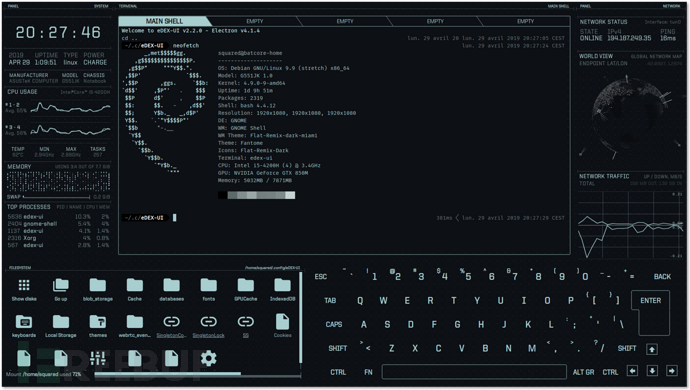 eDEX-UI:一款图形化且支持触屏的跨平台终端模拟器插图2