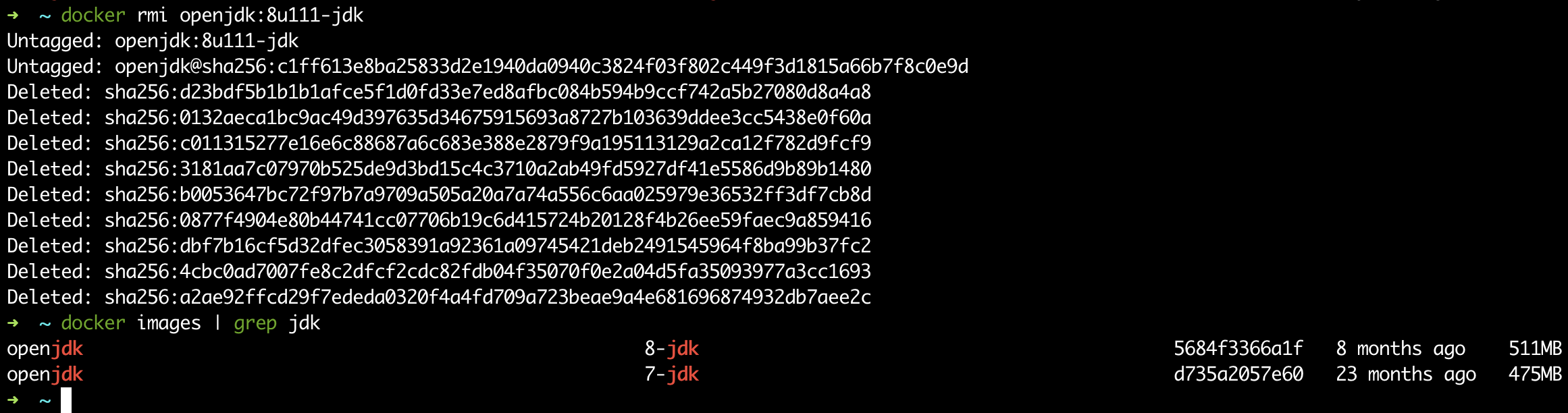 删除(openjdk:8u111-jdk)镜像